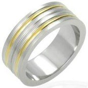 "Herre-ring i stål (316L) ""Gold plated"""