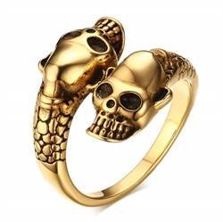 Forgyldt skull ring.
