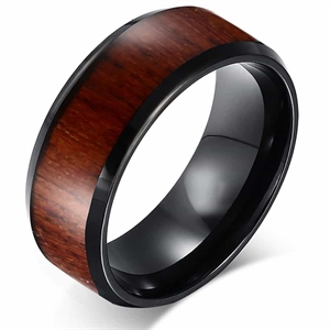 Sort Tungsten ring med træinlay