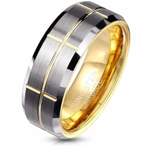 Groove tungsten carbide ring forgyldt