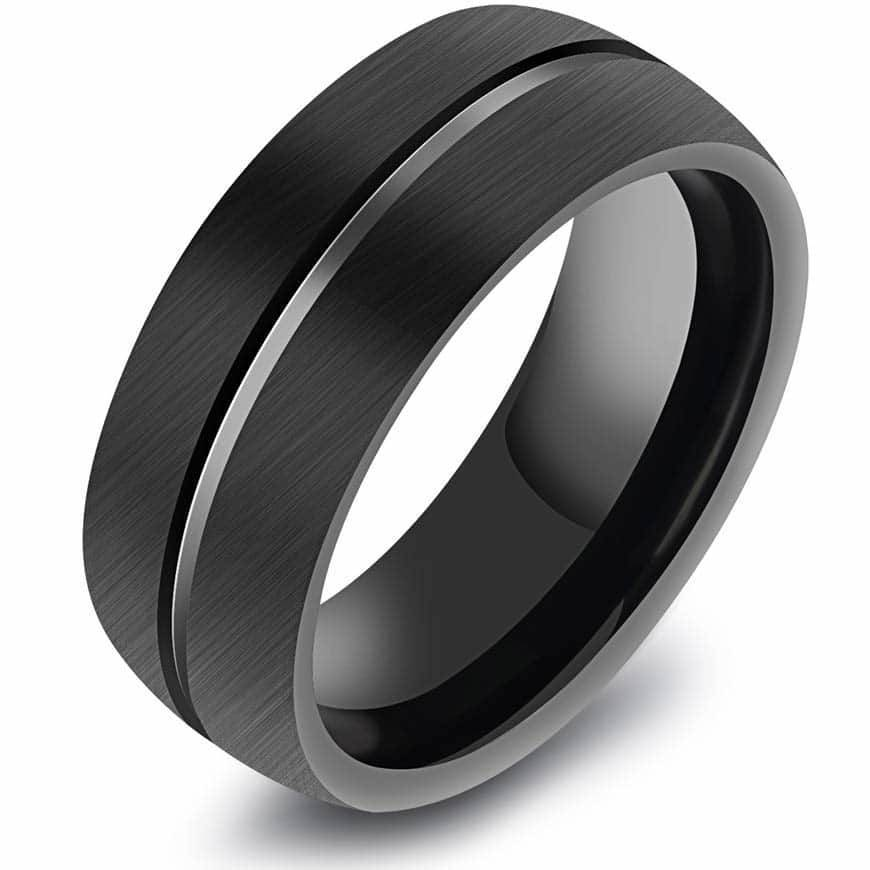 4166b7110d0a Sort herrering i Tungsten Carbide i god stil fra Marjoe